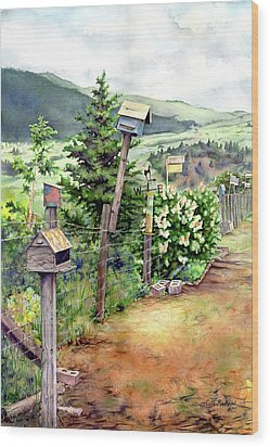 Birdhouse Alley Wood Print by Leslie Redhead