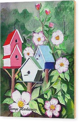 Birdhouse Wood Print by George Markiewicz