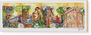 Birdhouse Tableau Wood Print by John Keaton