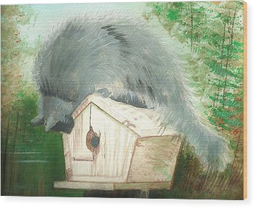Wood Print featuring the painting Birdie In The Hole by Denise Fulmer