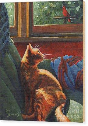 Birdie In The Window Wood Print by Pat Burns