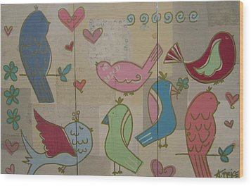 Wood Print featuring the painting Birdie Tea Party by Ashley Price