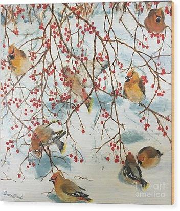 Birds And Berries Wood Print