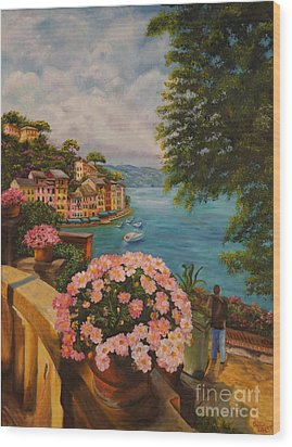 Bird's Eye View Of Portofino Wood Print by Charlotte Blanchard