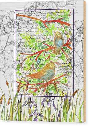 Wood Print featuring the painting Bluebirds Nature Collage by Cathie Richardson