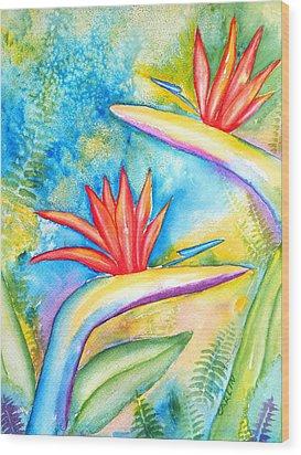 Birds Of Paradise Wood Print by Carlin Blahnik