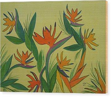 Birds Of Paradise Wood Print by Elizabeth Ribet