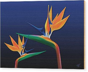 Birds Of Paradise Wood Print by Kenneth Armand Johnson