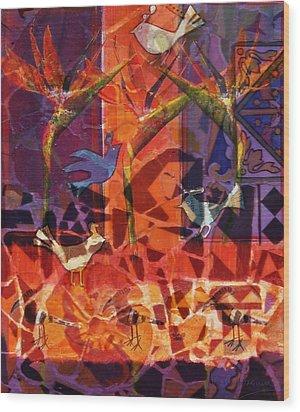 Birds Of Paradise Wood Print by Valerie Brown