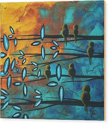 Birds Of Summer By Madart Wood Print by Megan Duncanson