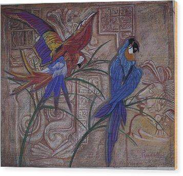 Birds On A Mayan Wall Wood Print