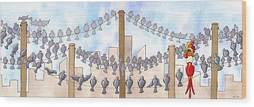 Birds On A Wire Wood Print by Christy Beckwith