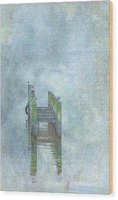 Wood Print featuring the digital art Birds On Abandoned Dock by Randy Steele