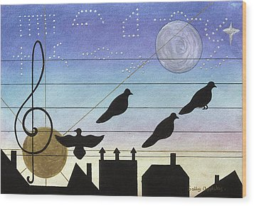 Birds On Wires Wood Print by Sally Appleby