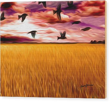 Birds Over Wheat Field Wood Print by Anthony Caruso