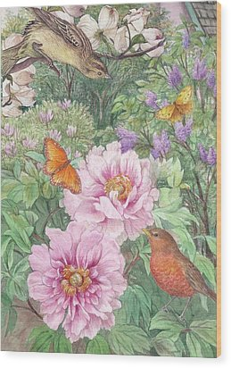 Birds Peony Garden Illustration Wood Print by Judith Cheng