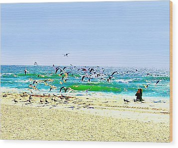 Wood Print featuring the photograph Birds Taking Off by Ellen O'Reilly