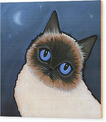 Birman Blue Night Wood Print by Leanne Wilkes