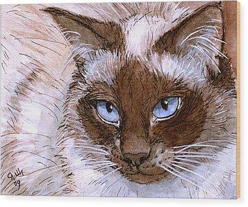 Birman Cat - Blue Eyes. Wood Print by Svetlana Ledneva-Schukina