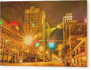 Birmingham Alabama Evening Skyline Wood Print by Alex Grichenko