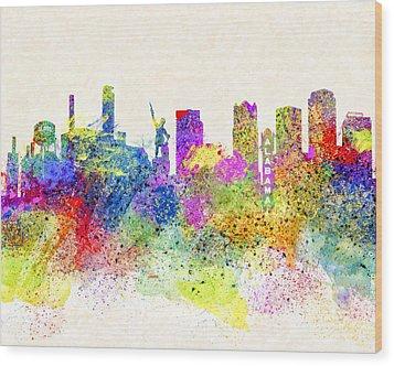 Birmingham Alabama Skyline Art Wood Print