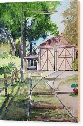 Birney Trolley Barn Wood Print by Tom Riggs