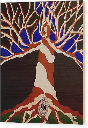 Wood Print featuring the painting Birth by Carolyn Cable