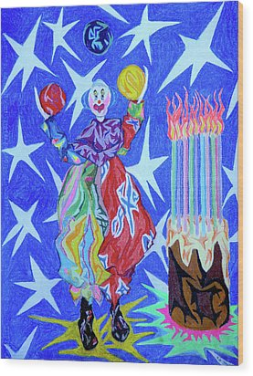 Birthday Clown Wood Print