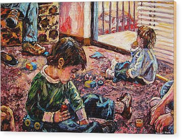 Wood Print featuring the painting Birthday Party Or A Childs View by Kendall Kessler
