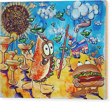 Birthday Party With Mister Taco And Piata Wood Print by Charles Harrison Pompa