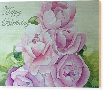 Birthday Peonies Wood Print