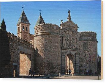 Bisagra Gate Toledo Spain Wood Print by Joan Carroll