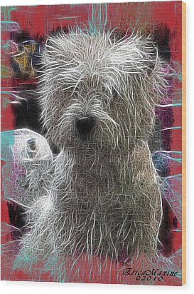 Wood Print featuring the photograph Bishon Frise by EricaMaxine  Price