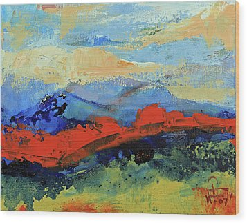Wood Print featuring the painting Bishop Mountains - Fall 2016 by Walter Fahmy