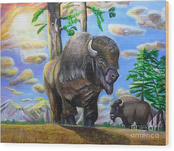 Wood Print featuring the painting Bison Acrylic Painting by Thomas J Herring