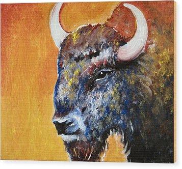 Bison Wood Print by Anastasis  Anastasi