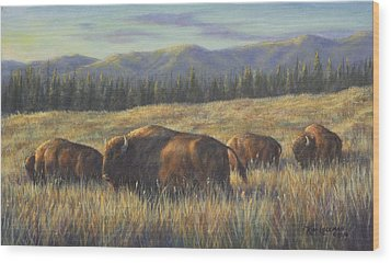 Wood Print featuring the painting Bison Bliss by Kim Lockman