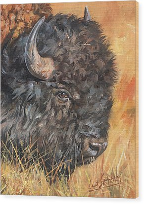 Wood Print featuring the painting Bison by David Stribbling