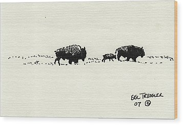 Bison Family Wood Print by Eric Tressler