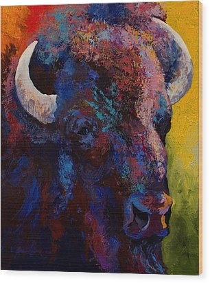 Bison Head Study Wood Print by Marion Rose
