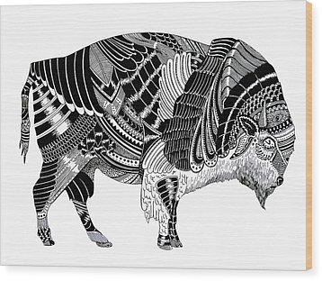 Bison Wood Print by JF Mondello