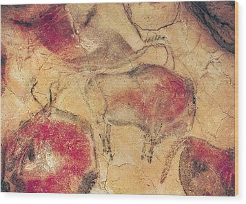 Bisons From The Caves At Altamira Wood Print by Prehistoric