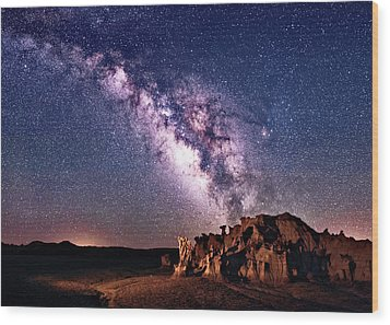 Bisti Badlands Night Sky Wood Print