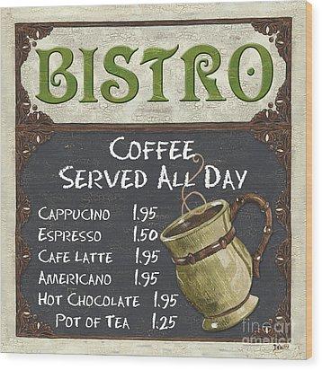 Bistro Chalkboard  Wood Print by Debbie DeWitt