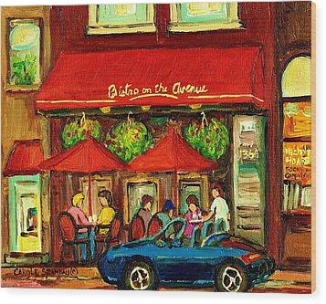 Bistro On Greene Avenue In Montreal Wood Print by Carole Spandau