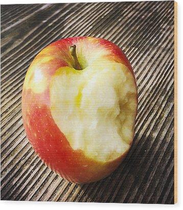 Bitten Red Apple Wood Print