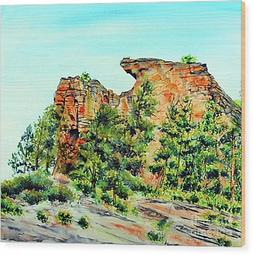 Bitterroot Cliffs Wood Print by Tracy Rose Moyers