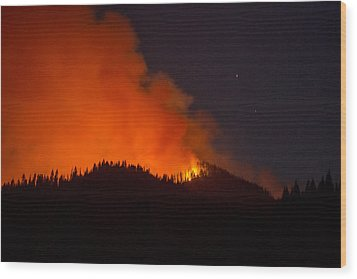 Bitterroot Forest Fire Wood Print