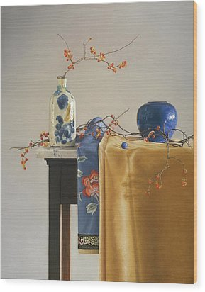 Bittersweet With Blue Wood Print by Barbara Groff