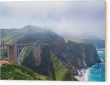 Bixby Bridge Fog Wood Print by Digartz - Thom Williams